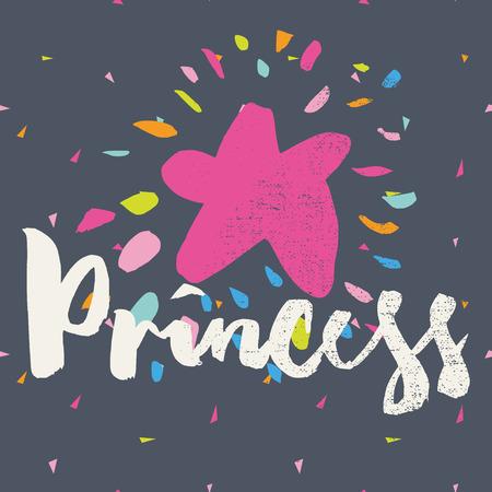princess: Print T-shirts for children. Postcard.