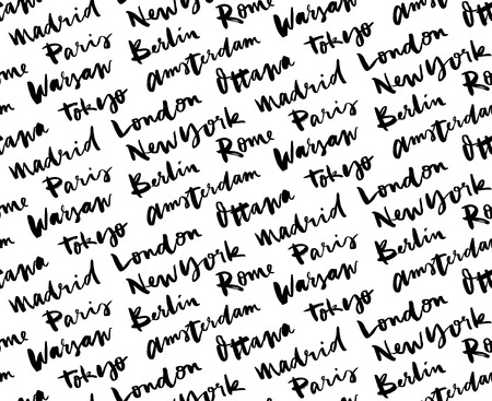 european cities: Cities of the world seamless pattern. The names of the cities of the world. European cities. Hand lettering. Seamless pattern.