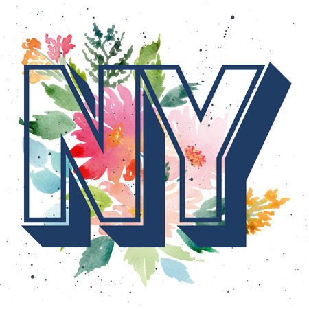 Print for T-shirt. Watercolor background. Flowers. NY