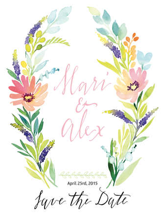 handmade: Watercolor greeting card flowers. Handmade. Congratulations.