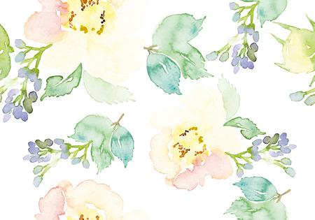 Watercolor flowers. Seamless pattern. Vector. Illustration. Gentle Çizim