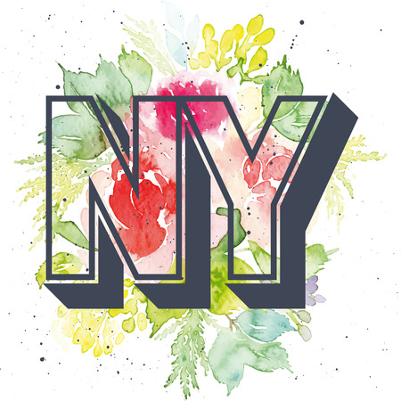 ny: Print for T-shirt. Watercolor background. Flowers. NY