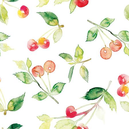 cherry: The seamless pattern cherries. Watercolor. Acrylic. Brush.