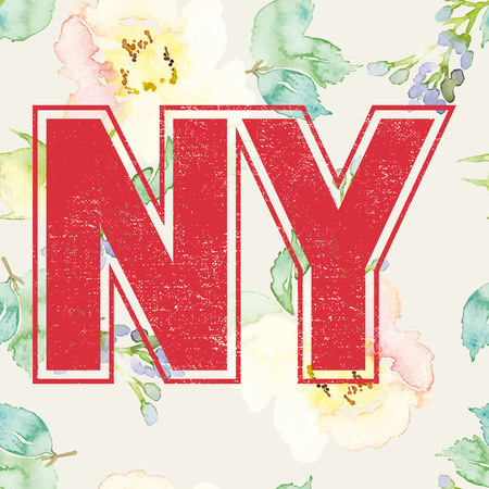 ny: Print for T-shirt. Seamless pattern. Watercolor background. Flowers. NY