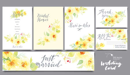 dates: A set of cards for the wedding. Watercolor. Flowers watercolor ornament. Menu. Invitation. Wedding. Anniversary.