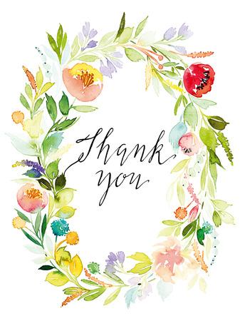 Aquarell Grußkarte Blumen. Handmade. Standard-Bild - 42147323