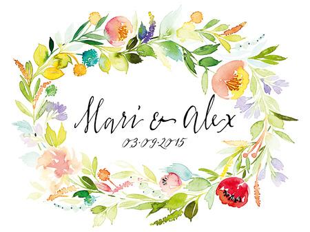 birthday frame: Watercolor greeting card flowers. Handmade.