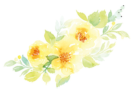 retro flower: Watercolor greeting card flowers. Handmade.