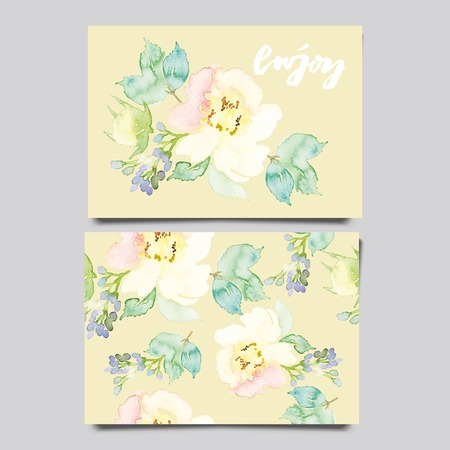 summer holiday: Decorative card. Flowers painted in watercolor. Hand lettering. Seamless pattern.
