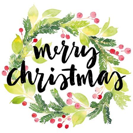 natale: Biglietto natalizio. Pittura dell'acquerello. Lettering a mano. Corona per il Natale. Acquerello. Vettoriali