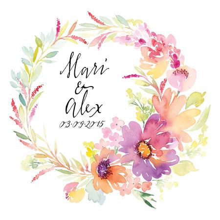 Aquarel wenskaart bloemen. Handgemaakt. Stockfoto - 42524163