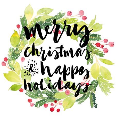 boldog karácsonyt: Karácsonyi üdvözlőlap. Akvarell. Kézi betűkkel. Koszorú karácsonyra. Akvarell.