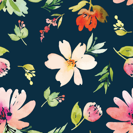 small: Watercolor flowers. Seamless pattern. Vector. Illustration. Gentle Illustration
