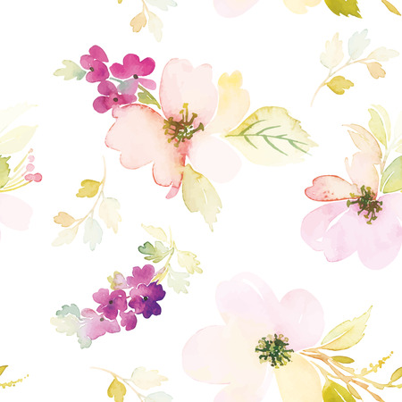 Watercolor flowers. Seamless pattern. Vector. Illustration. Gentle Vettoriali