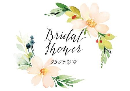 Watercolor greeting card flowers. Handmade. Reklamní fotografie - 42524176