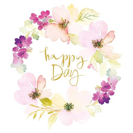 season greetings: Watercolor greeting card flowers. Handmade.