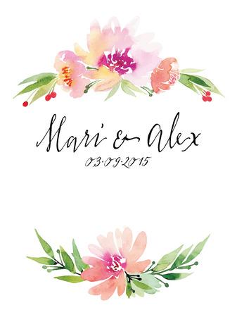 flower border: Watercolor greeting card flowers. Handmade.