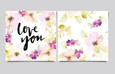 invitacion fiesta: Tarjeta decorativa. Flores pintadas en acuarela. Letras de la mano. Patr�n sin fisuras.