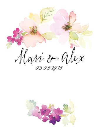 Watercolor greeting card flowers. Handmade. Фото со стока - 42524192
