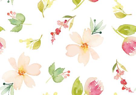 romantico: Flores de la acuarela. Patrón sin fisuras. Vector. Ilustración. Suave