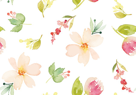 Watercolor flowers. Seamless pattern. Vector. Illustration. Gentle Çizim