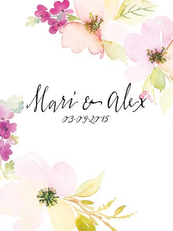 Aquarelle fleurs de cartes de voeux. Handmade. Banque d'images - 42524197