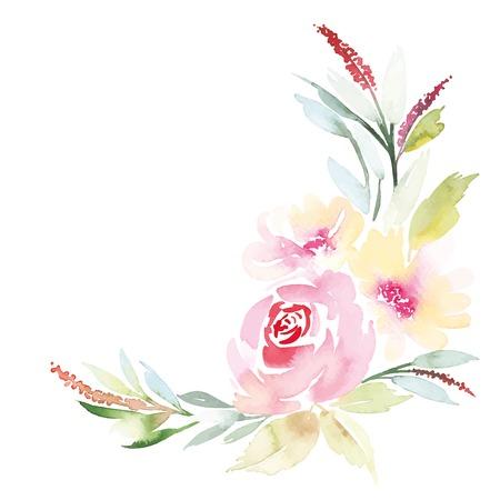 decorative borders: Watercolor greeting card flowers. Handmade.