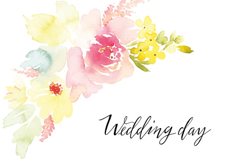 frame border: Watercolor greeting card flowers. Handmade.