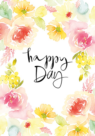 Watercolor greeting card flowers. Handmade. Stock fotó - 42589603