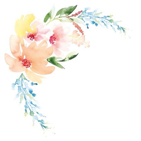 Aquarelle fleurs de cartes de voeux. Handmade. Banque d'images - 42589602