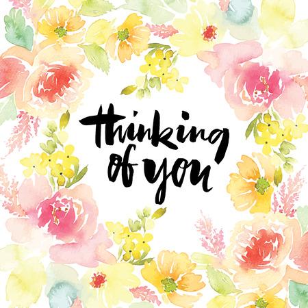 marco cumpleaños: Acuarela flores de tarjetas de felicitación. Hecho a mano.