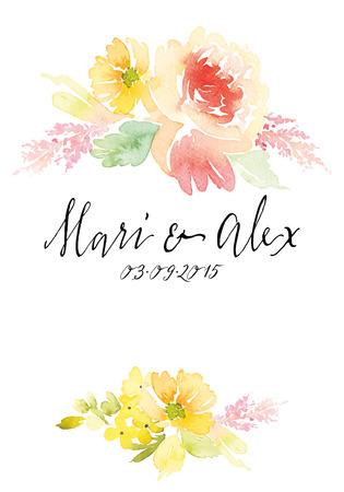Suluboya tebrik kartı çiçekler. El yapımı. Çizim