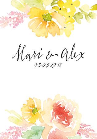 border frame: Watercolor greeting card flowers. Handmade.