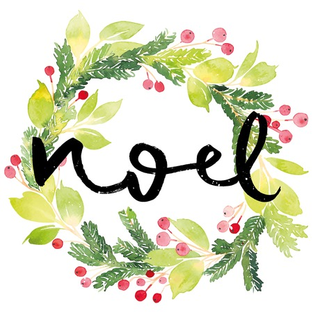 Vánoční přání. Akvarel malování. Ruční písmo. Věnec na Vánoce. Akvarel.