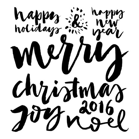 happy new year text: Christmas decoration collection. Set of calligraphic inscriptions. Handmade.