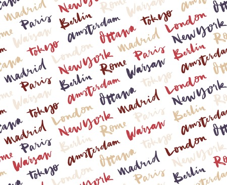 european cities: The names of the cities of the world. European cities. Hand lettering. Seamless pattern.
