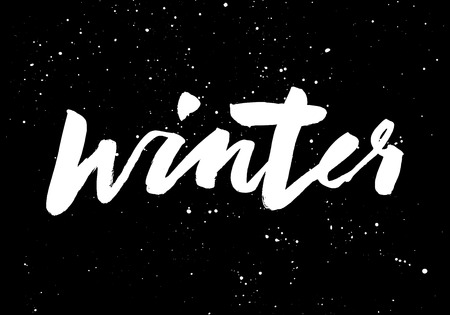 old style lettering: Winter calligraphy. Hand lettering. Brush black.