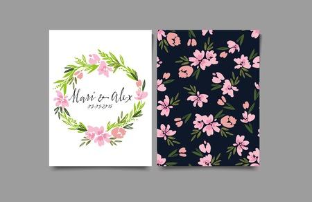 pink floral: Decorative card. Flowers painted in watercolor. Hand lettering. Abstract