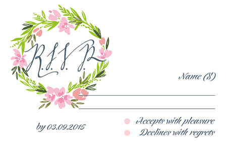 rsvp: RSVP card suite with frame. Wedding, invitation card. Elegance pattern with flowers. Vintage vector illustration. Illustration