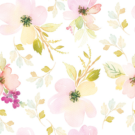light painting: Watercolor flowers. Seamless pattern. Illustration. Gentle