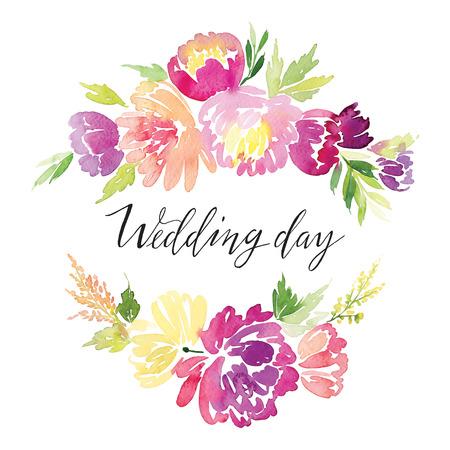 Acuarela flores de tarjetas de felicitación. Hecho a mano. Foto de archivo - 43408554