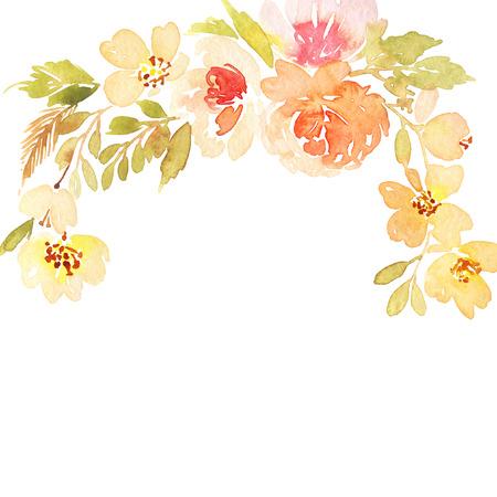 Aquarel wenskaart bloemen. Handgemaakt. Stockfoto