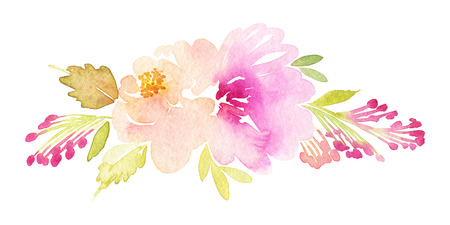 Watercolor greeting card flowers. Handmade.