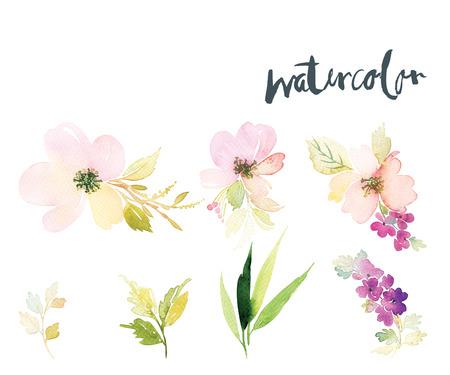 Acuarela flores tarjeta de felicitación. Hecho A Mano. Te Felicito. Foto de archivo - 43408510