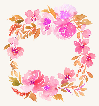 spouse: Watercolor wreath. Handmade. Illustration.