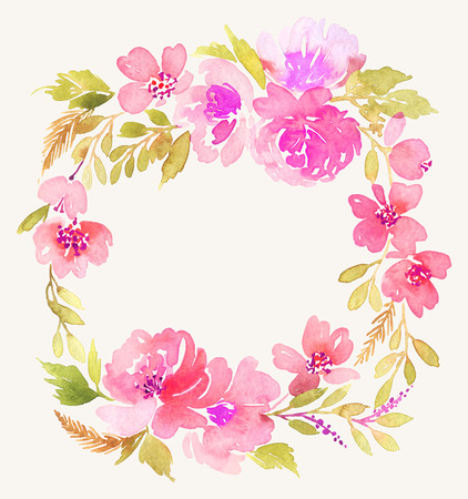 circle flower: Watercolor wreath. Handmade. Illustration.