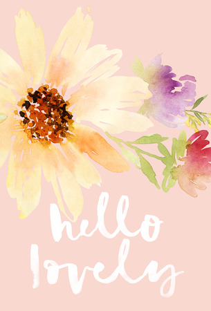hand card: Postcard watercolor sunflowers. Wedding. Floral background.