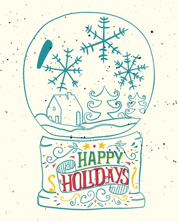 nature backgrounds: Christmas card. Bowl with snow. Ink sketch. Illustration