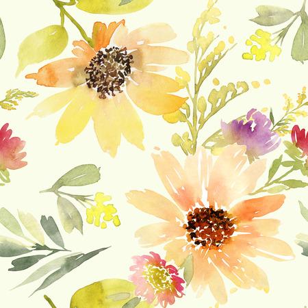 Sunflowers seamless pattern. Watercolor. Summer.
