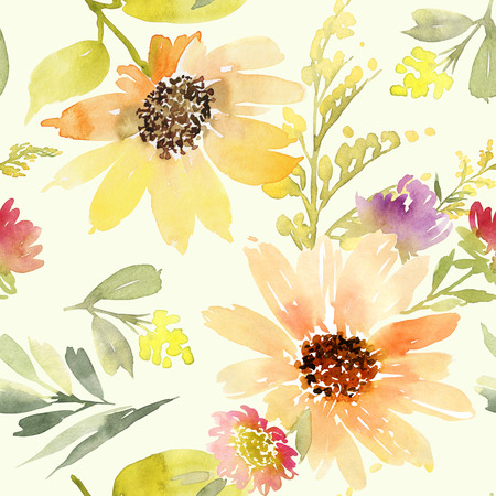 watercolor pen: Sunflowers seamless pattern. Watercolor. Summer.